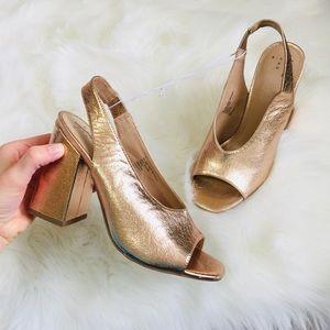 NEW Rose Gold Peep Toe Slingback Back Heels